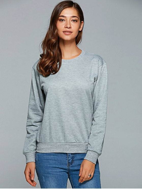 Letter Pattern Round Collar Sweatshirt - GRAY L Mobile