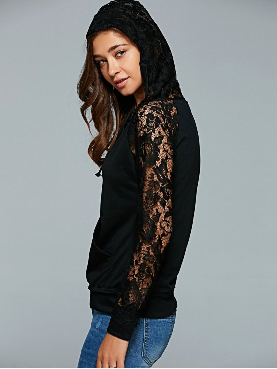 Front Pocket Lace Insert Hoodie - BLACK S Mobile