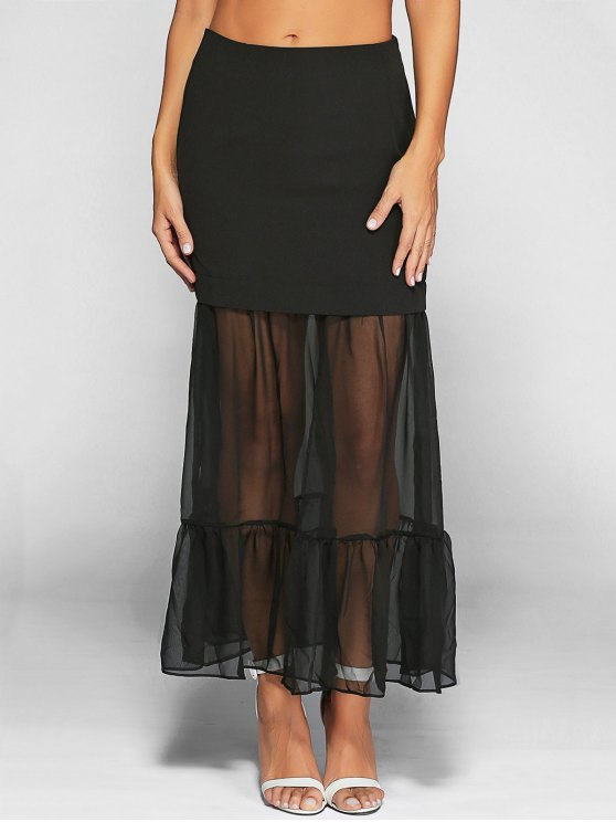 Ruffle See-Through Tulle Maxi Skirt - BLACK XL Mobile