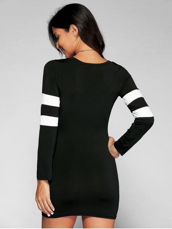 V Neck Stripes Bodycon T Shirt Dress - BLACK L Mobile