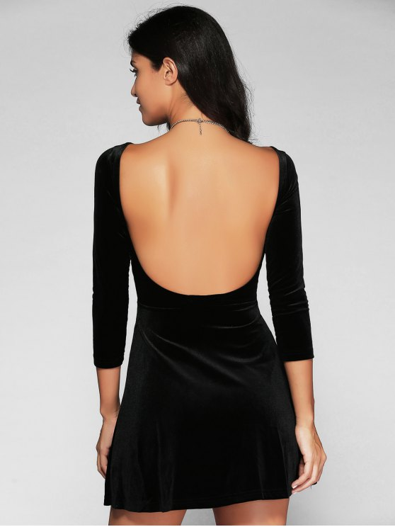 outfit Open Back Mini Fit and Flare Dress - BLACK L