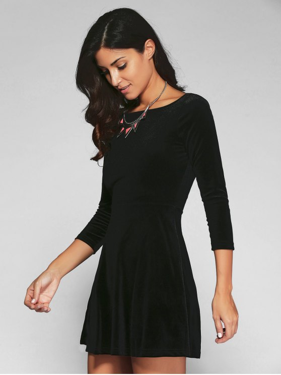 Open Back Mini Fit and Flare Dress - BLACK S Mobile