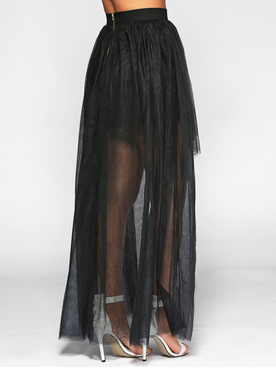Voile High-Low Ball Gown Maxi Skirt - BLACK M Mobile