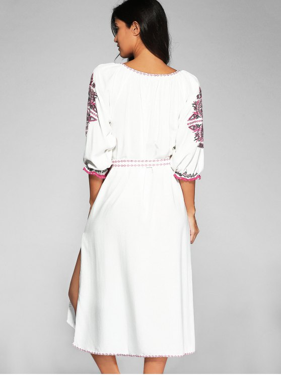 Belted Embroidered Midi Dress With Sleeves - OFF-WHITE L Mobile