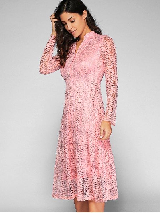 Leaf Pattern Lace Dress - PINK L Mobile