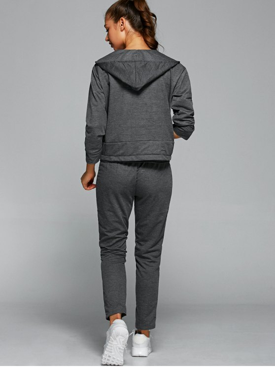 Cami Top With Drawstring Pants With Hoodie - GRAY S Mobile