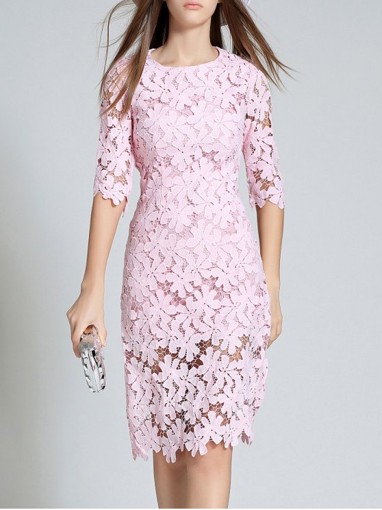 Round Neck 3/4 Sleeve Full Lace Bodycon Dress - PINK M Mobile