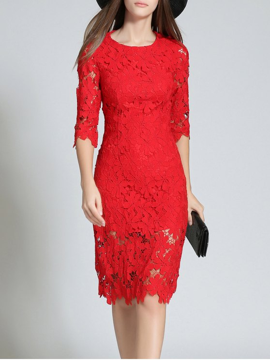 Round Neck 3/4 Sleeve Full Lace Bodycon Dress - RED 2XL Mobile