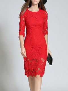 Round Neck 3/4 Sleeve Full Lace Bodycon Wedding Dress - Red L