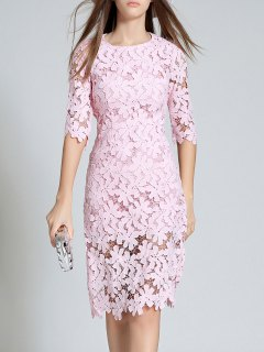 Round Neck 3/4 Sleeve Full Lace Bodycon Wedding Dress - Pink S
