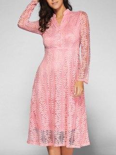Leaf Pattern Lace Dress - Pink Xl