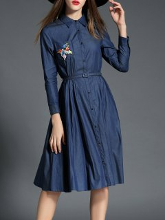 Shirt Neck Long Sleeve Embroidered Shirt Dress - Purplish Blue M