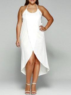 Halter Asymmetrical Plus Size Night Out Dress - White Xl