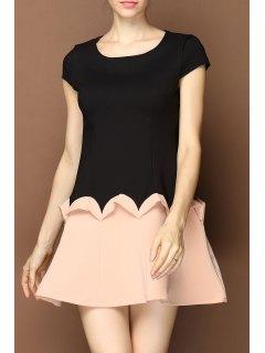 Drop Waist Ruffled Mini Dress - Black S