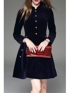 Button Up Flare Velevt Dress - Purplish Blue S