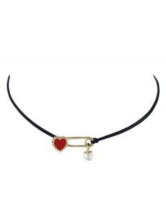 Faux Pearl Beads Heart Choker Necklace - Golden