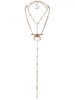 Moon Pendant Long Necklace - Golden