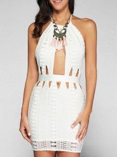 Backless Cutout Bodycon Dress - White Xl