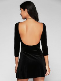 Open Back Mini Fit And Flare Dress - Black L