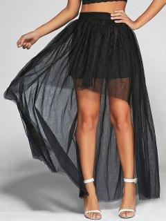 Voile High-Low Robe De Bal Jupe Longue - Noir S