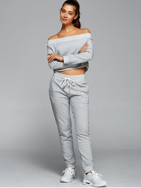 buy Sweatshirt With Pants Gym Outfits - LIGHT GRAY M Mobile