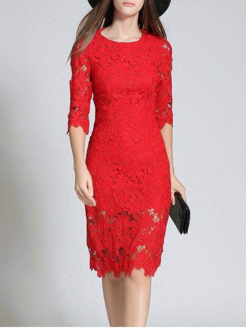 Robe de mariage ajustée en dentelle à col rond à manches 3/4 - Rouge L Mobile
