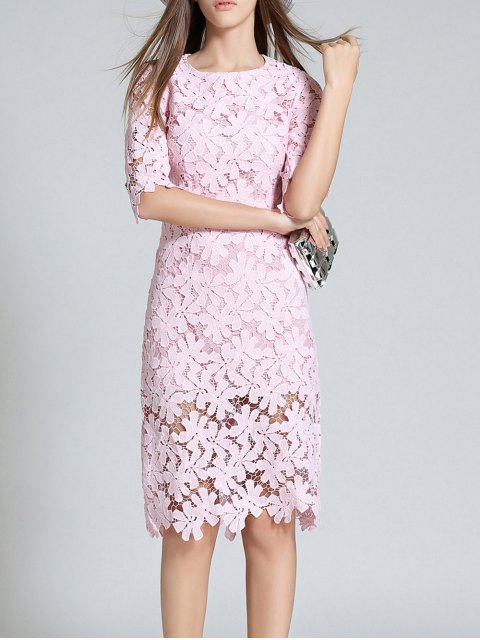 trendy Round Neck 3/4 Sleeve Full Lace Bodycon Dress - PINK M Mobile