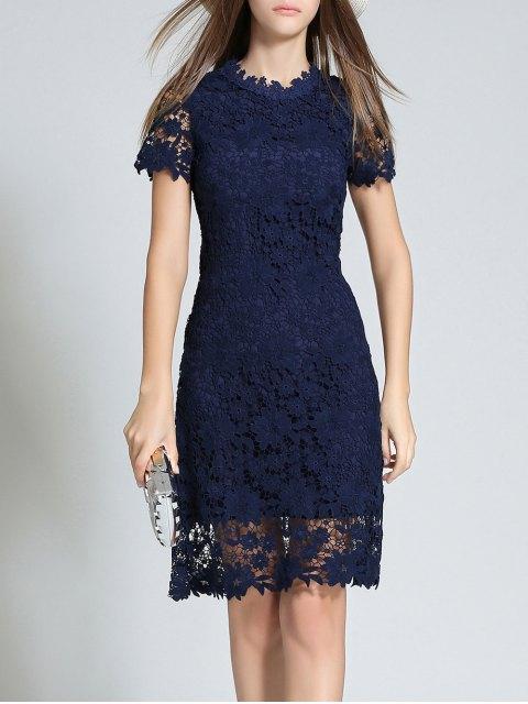 fancy Ruff Neck Sheath Lace Prom Cocktail Dress - PURPLISH BLUE 2XL Mobile