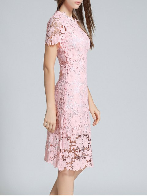trendy Ruff Neck Sheath Lace Prom Cocktail Dress - PINK XL Mobile