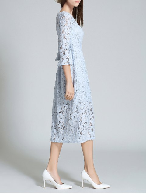 outfits Round Neck Flare Sleeve Lace Dress - LIGHT BLUE M Mobile