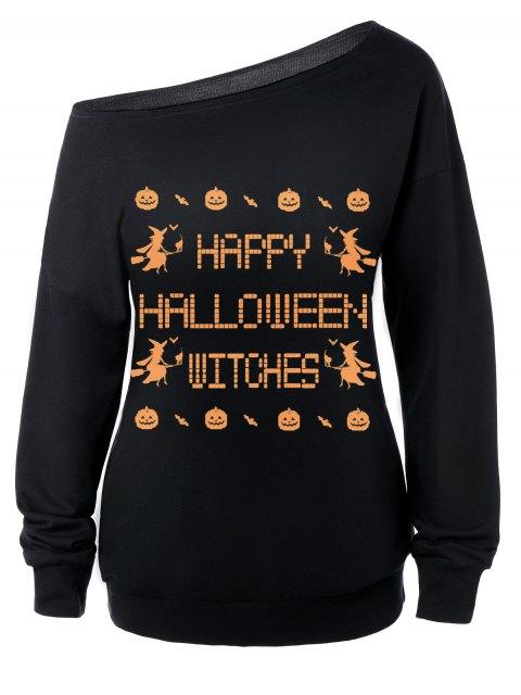 women's Witches Halloween Sweatshirt - BLACK L Mobile