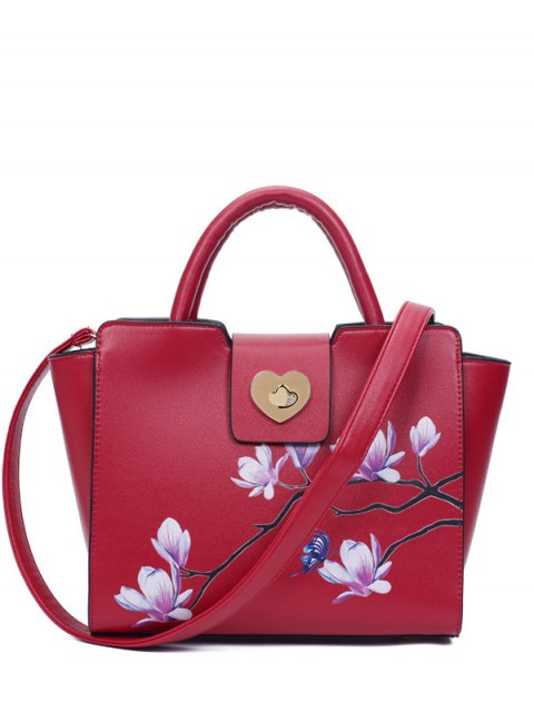 affordable Winged Magnolia Print Tote Bag - RED  Mobile