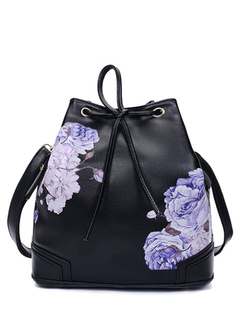 women's Drawstring Peony Print Backpack - BLACK  Mobile