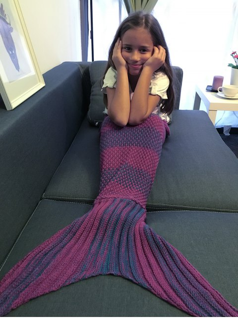 latest Stripe Knitted Mermaid Tail Blanket - PURPLE  Mobile