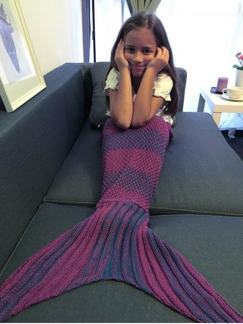 latest Stripe Knitted Mermaid Tail Blanket - PURPLE  Mobile