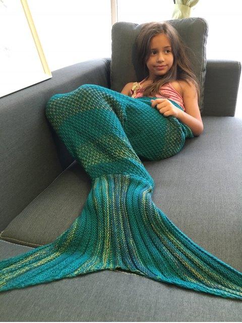 trendy Stripe Knitted Mermaid Tail Blanket - GREEN BLUE  Mobile