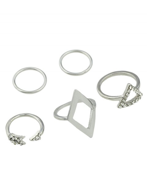 women's Alloy Rhinestone Triangle Jewelry Set Rings - SILVER ONE-SIZE Mobile