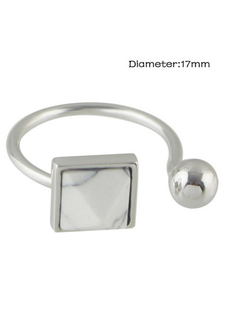 lady Faux Rammel Alloy Geometric Cuff Ring - SILVER ONE-SIZE Mobile