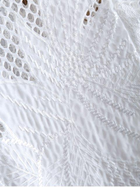 womens Openwork See-Through Crochet Jacket - WHITE 2XL Mobile