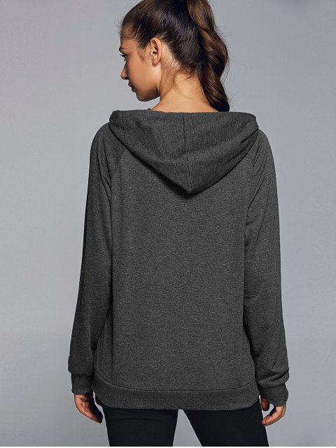 trendy Active Zip Up Hoodie - DEEP GRAY S Mobile