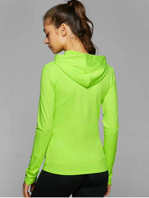 shop Hooded Drawstring T-Shirt - NEON GREEN L Mobile