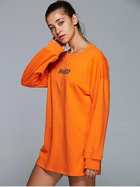 fashion Long Sleeve Letter Pattern Gym Sweatshirt - ORANGE M Mobile