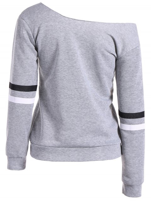 women Skew Neck Graphic Sweatshirt - GRAY M Mobile