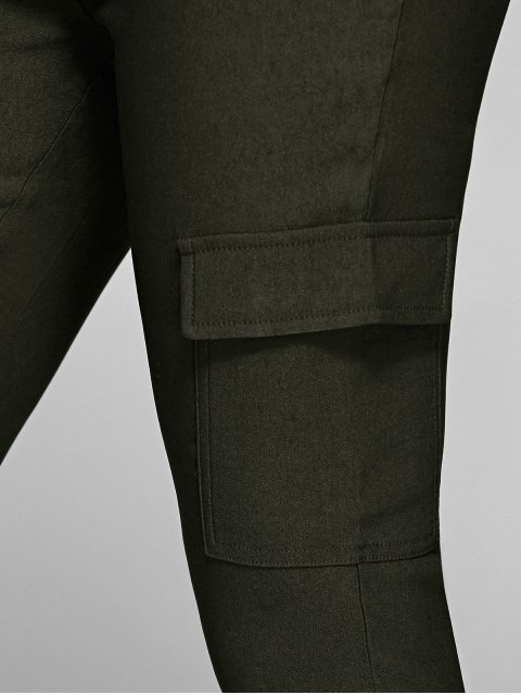 ladies Casual Multiple Pockets Pants - ARMY GREEN S Mobile