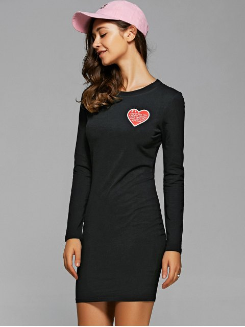 hot Round Neck Heart Print Bodycon Dress - BLACK S Mobile