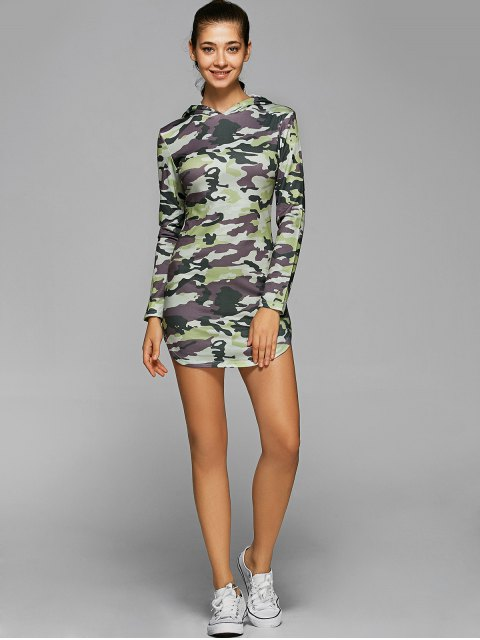 latest Hooded Long Sleeve Camo Bodycon Dress - CAMOUFLAGE L Mobile