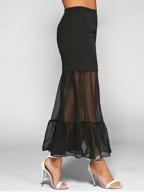 affordable Ruffle See-Through Tulle Maxi Skirt - BLACK XL Mobile