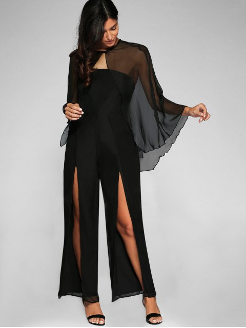 fancy High Slit Bandeau Jumpsuit and Cape - BLACK L Mobile