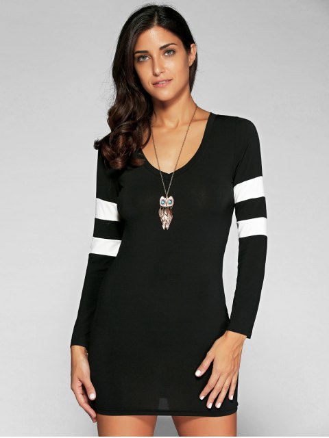 trendy V Neck Stripes Bodycon T Shirt Dress - BLACK L Mobile