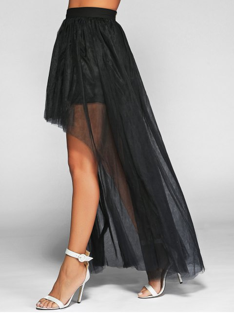 ladies Voile High-Low Ball Gown Maxi Skirt - BLACK M Mobile